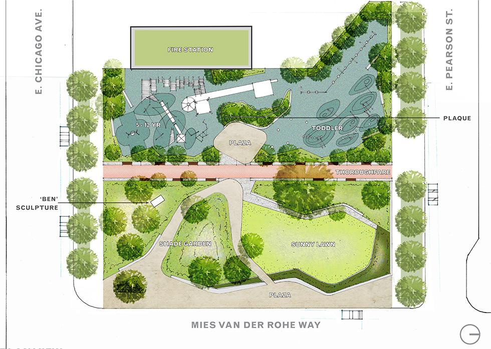 Seneca park chicago streeterville urban park for Site plan with landscape
