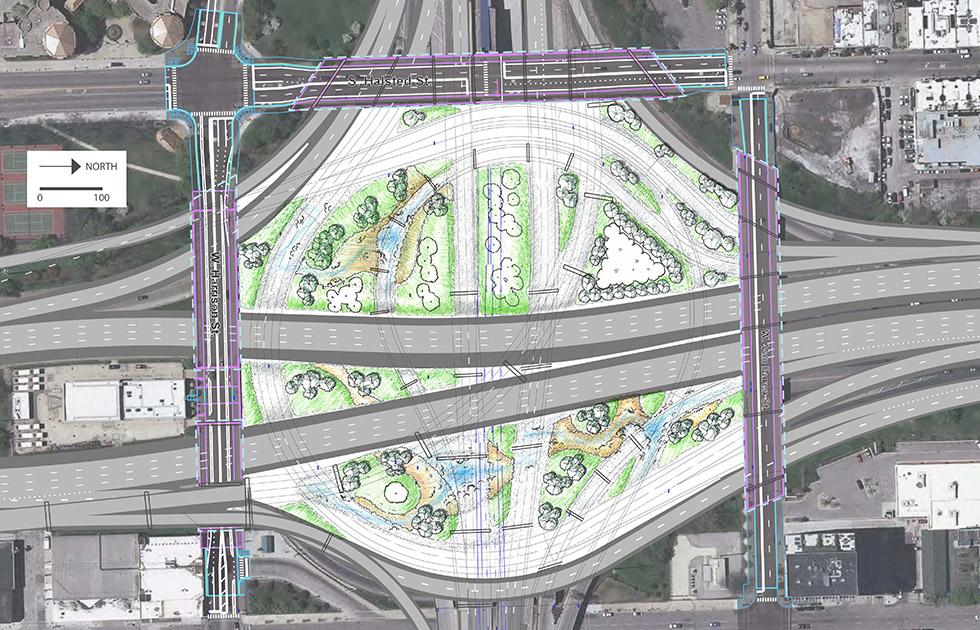 Chicago circle interchange streetscape design for I 90 construction
