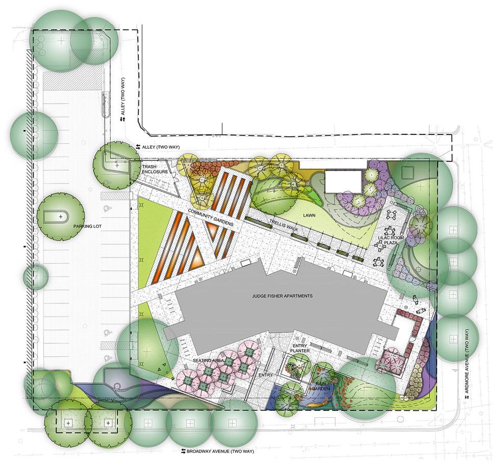 Judge fisher senior apartments chicago landscape design for Garden landscape plan
