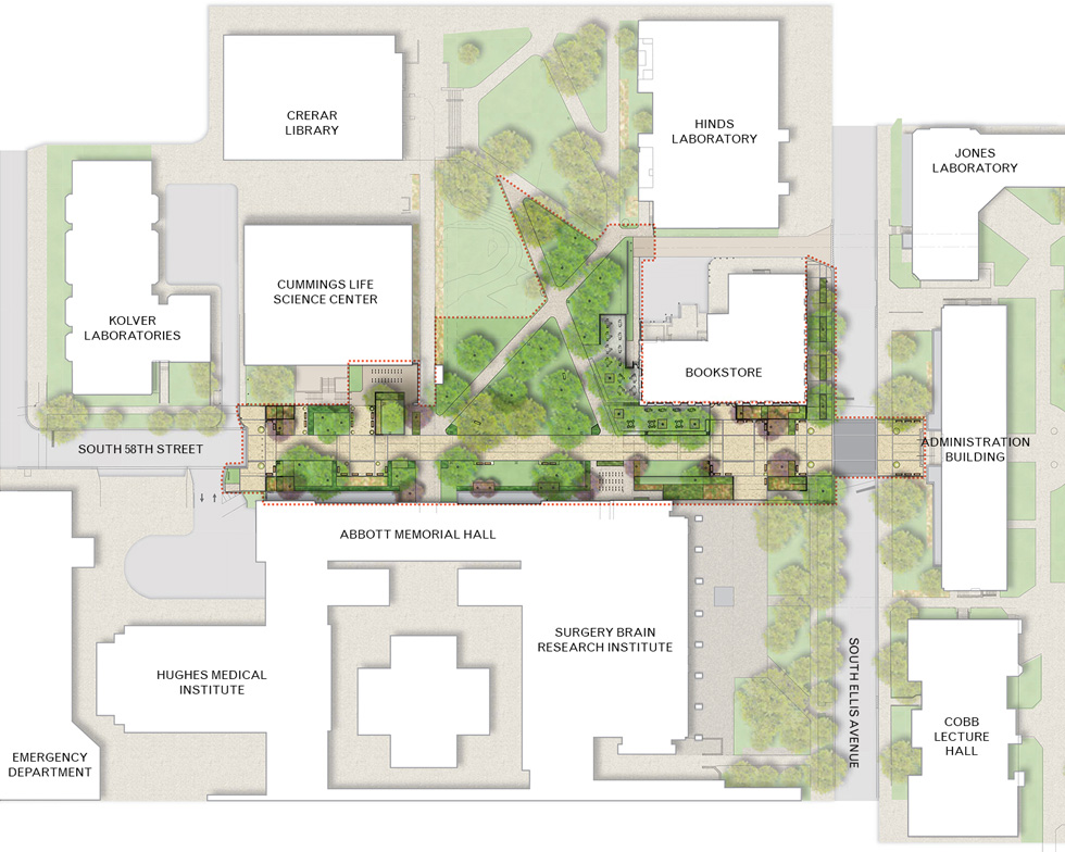 The university of chicago 58th street streetscape design Create a blueprint